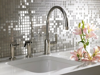 Anne Sacks metallic backsplash