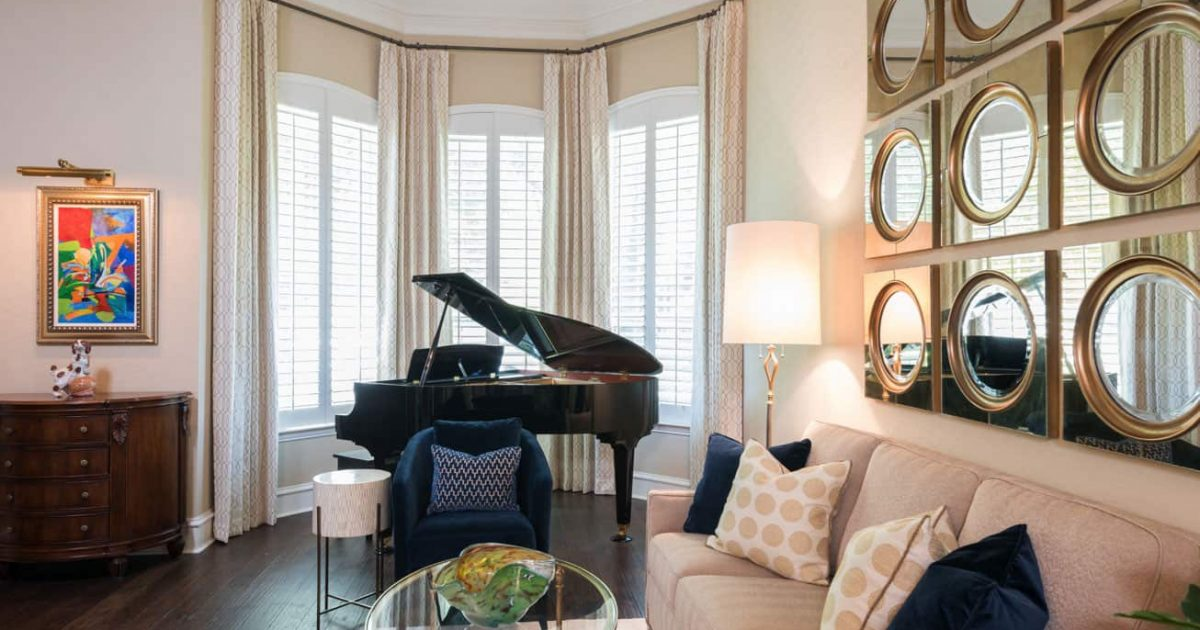 Jazzy Formal Living and Dining Room Plano TX Nicole Arnold Interiors