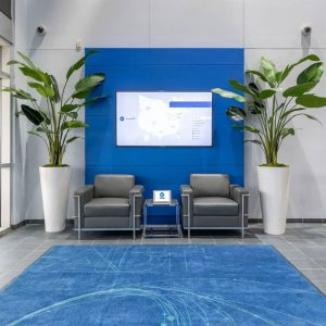 modern office reception area interior design, ADT headquarters, Dallas, by NIcole Arnold Interiors