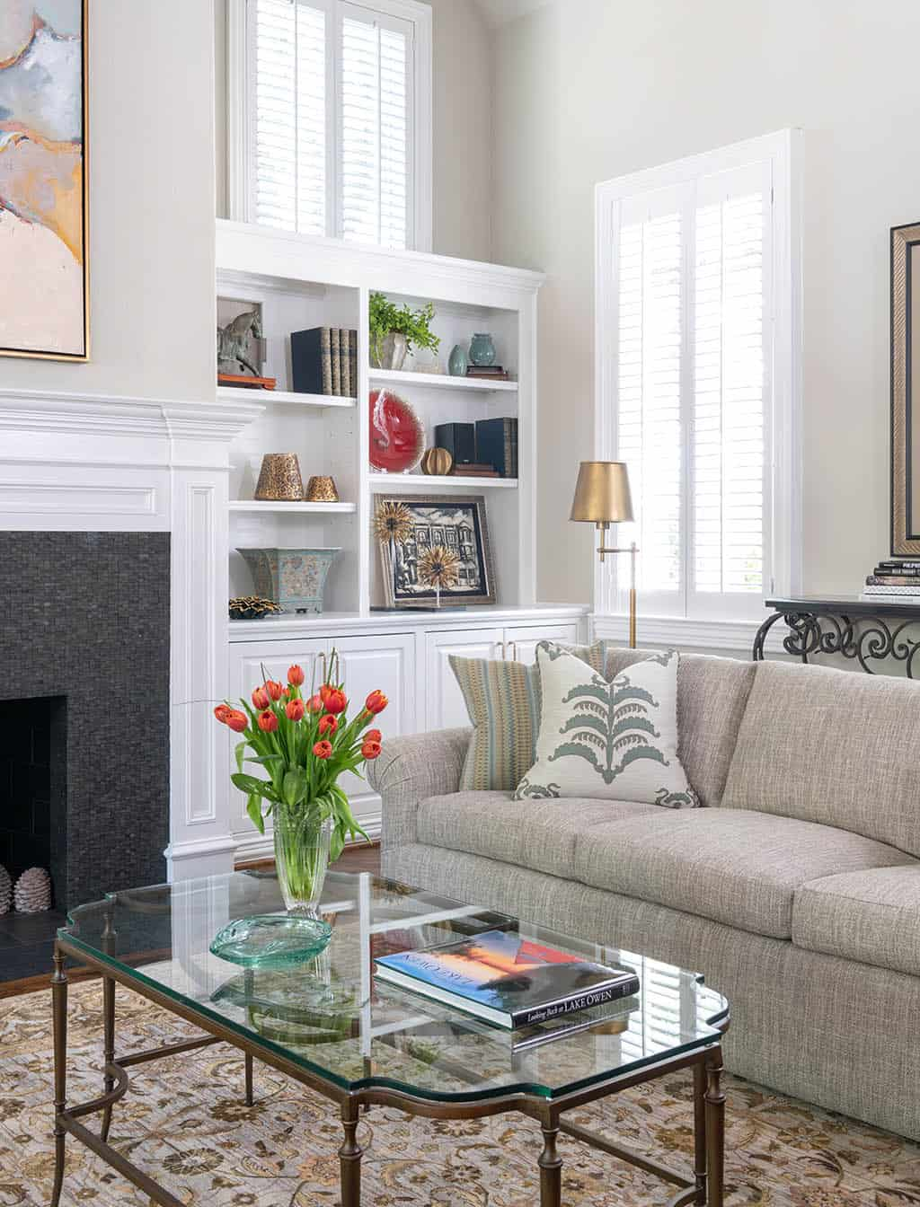 Coffee table decorated with books and other accessories in Plano, TX